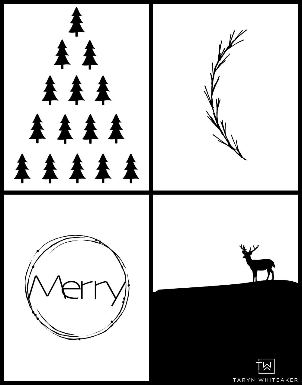 Black And White Modern Christmas Printables Taryn Whiteaker White Christmas Card Modern Christmas Cards Christmas Prints