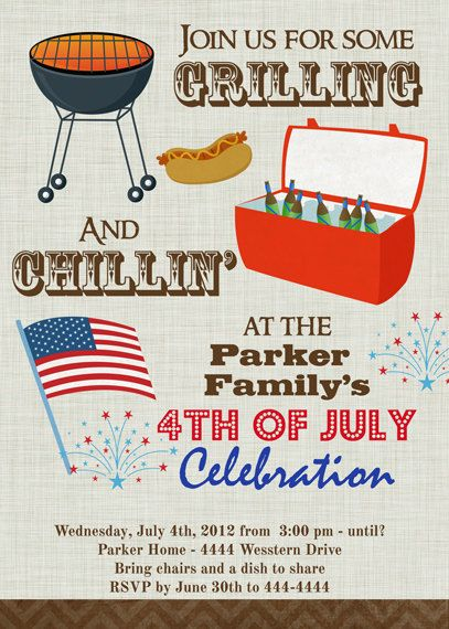 bbq cookout july 4th invitation digital by