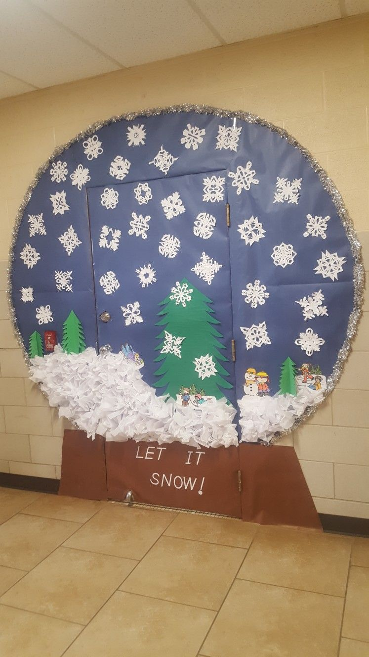 Winter Snow Globe Classroom Door Christmas Classroom Door Holiday Door Decorations School Door Decorations