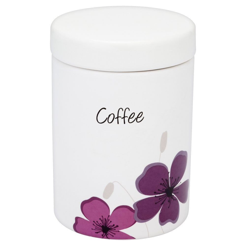 Wilko Coffee Canister White With Purple Meadow Design At