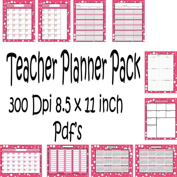 Teachers Planner Pack 10 different one page by PurposelyDesigned - teachers planning calendar