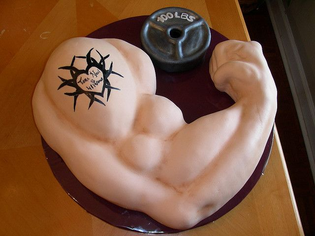 Awesome Muscle Arm Grooms Cake With Images Grooms Cake Cake Body Personalised Birthday Cards Xaembasilily Jamesorg