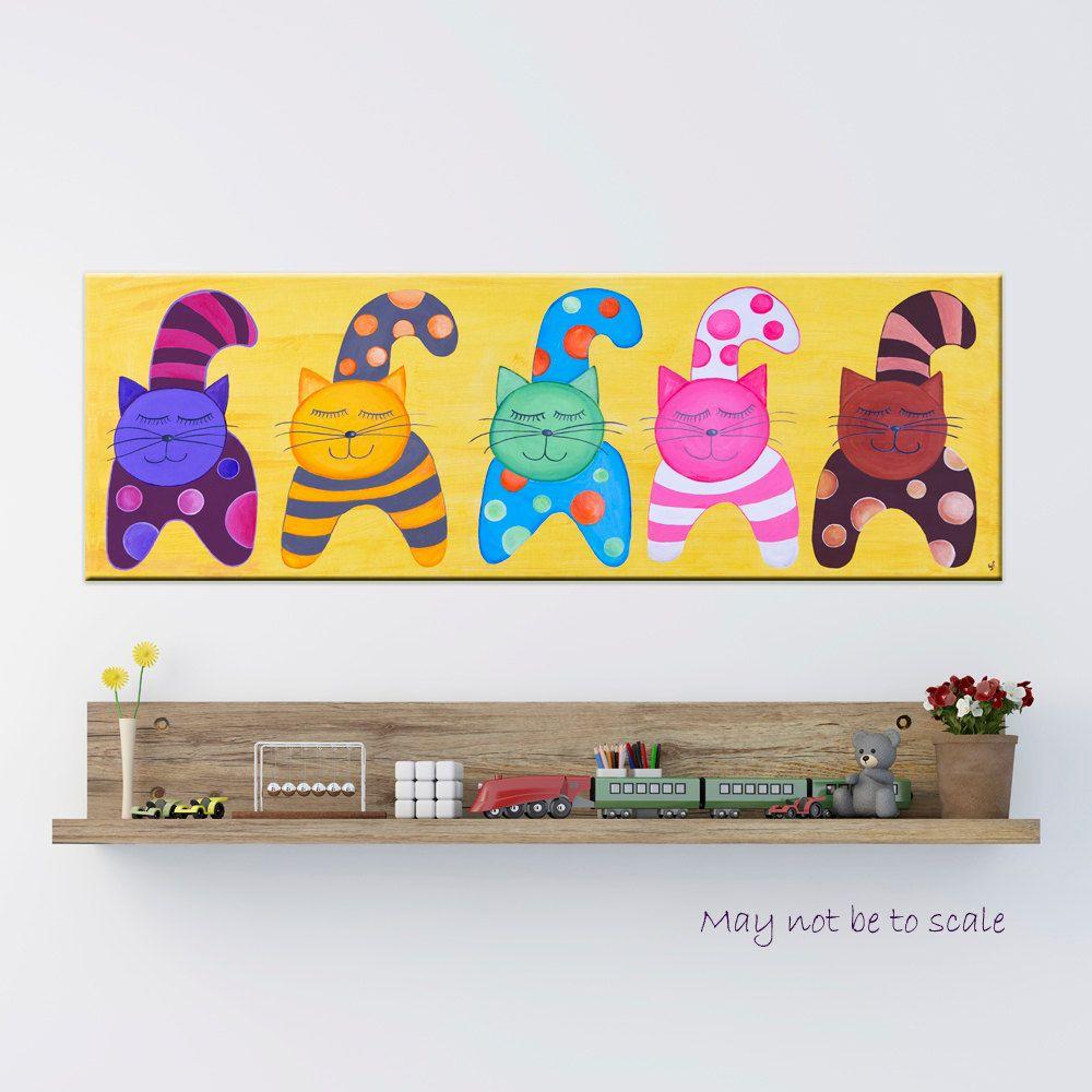 Giclee Print Canvas Wall Art Children Room Lucky Gang Cats Home ...