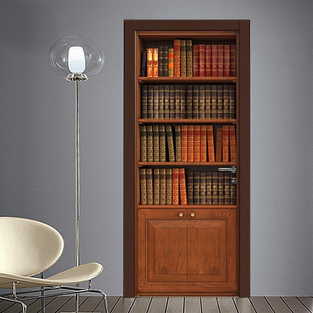 Libreria A Porta Di Roma adesivo finta libreria classica | arredamento casa