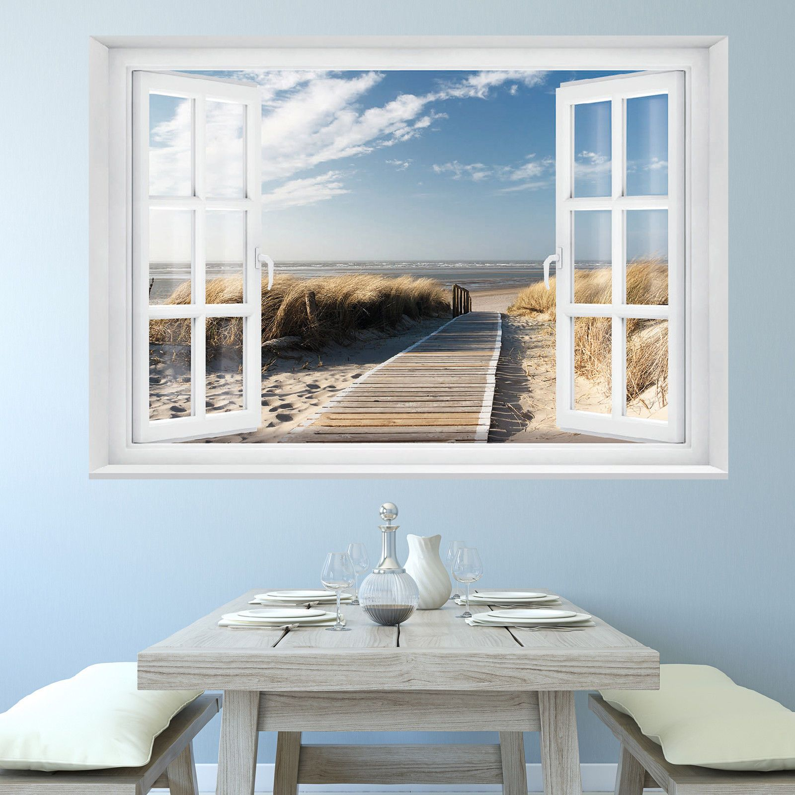 fototapete beach window 2t1 127cm x 183cm meer strand d nen ocean way tapete in heimwerker. Black Bedroom Furniture Sets. Home Design Ideas