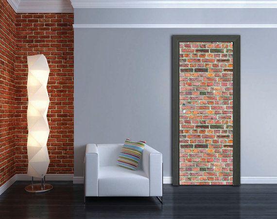 Door Sticker BRICK WALL SelfAdhesive Vinyl Decal Poster Mural - Vinyl wall decals brick