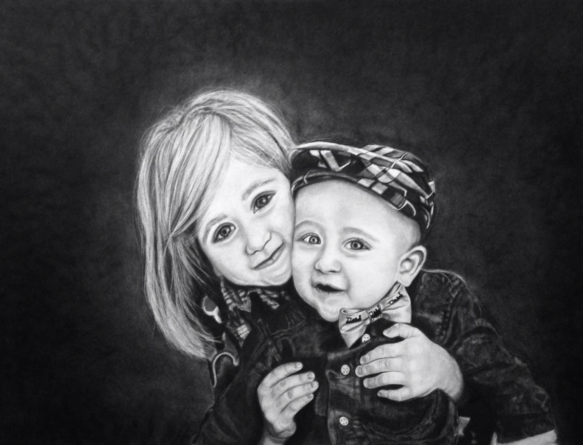 """Melody Vice-artist McDaniel Portrait Charcoal and Graphite on paper 18""""x24"""" 2014"""