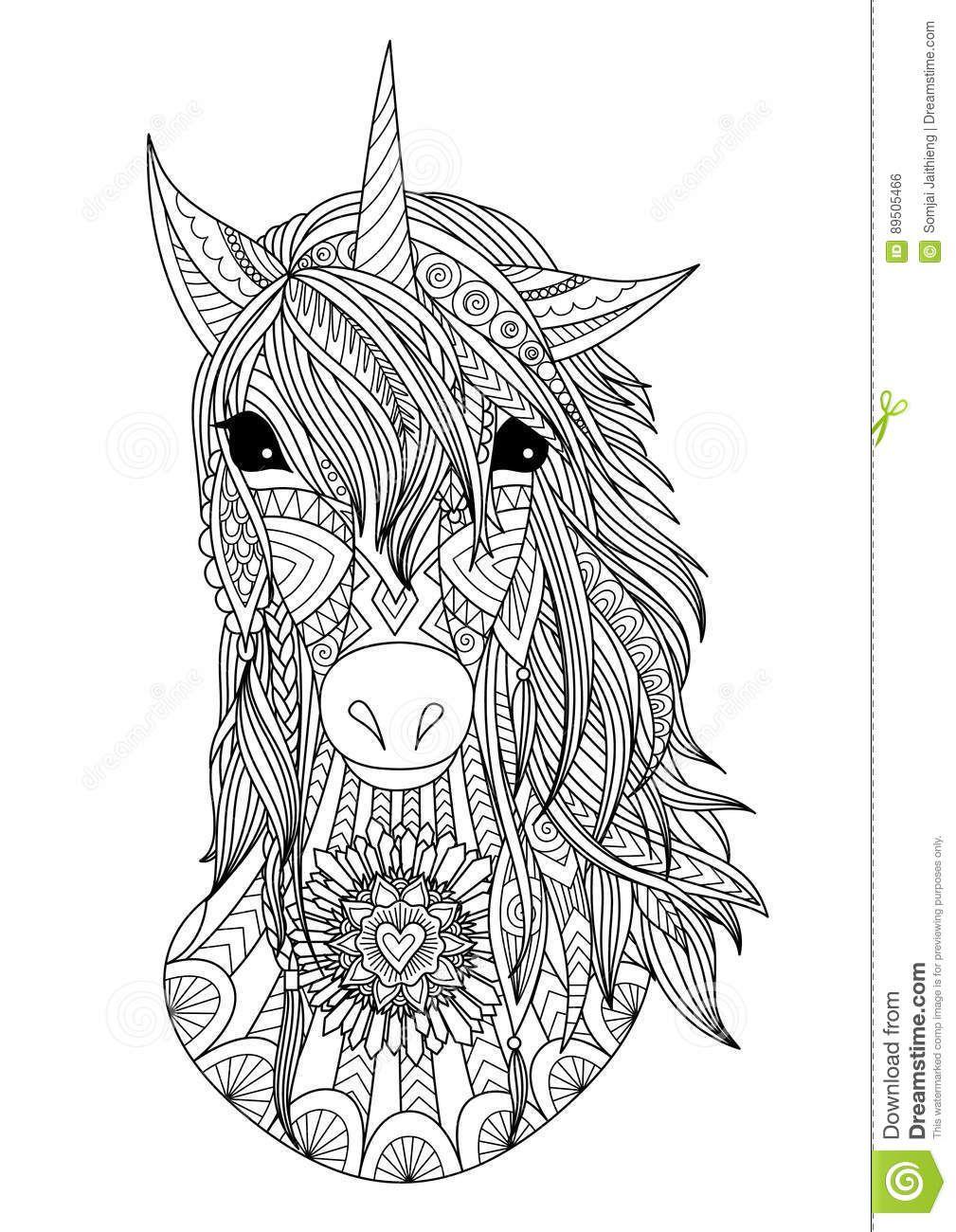 Photo about Beautiful zendoodle stylized unicorn head for ...