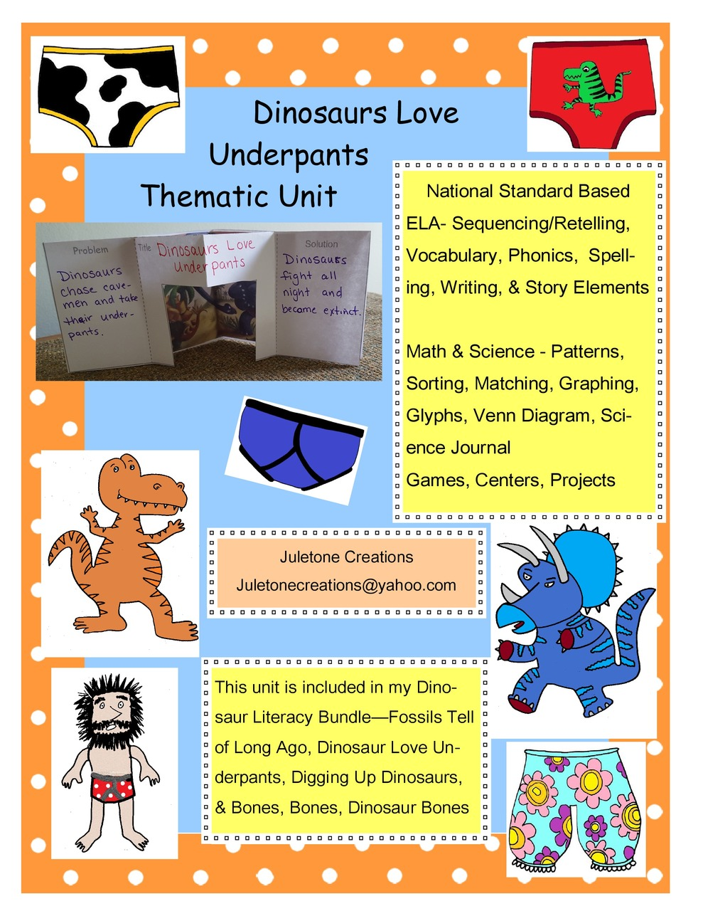 Dinosaurs Love Underpants Thematic Unit Thematic Units Thematic Self Contained Classroom [ 1280 x 989 Pixel ]
