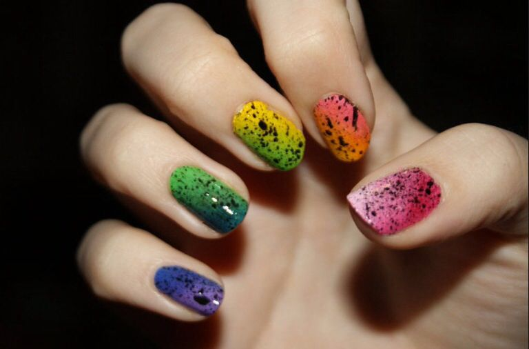 Black splatter nails