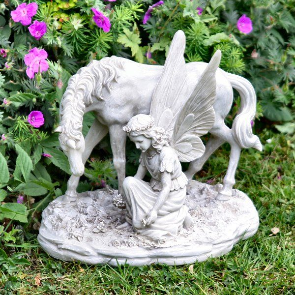 Outdoor garden statues ornaments fairy with a unicorn garden ornaments statues art - Large garden fairy statues ...