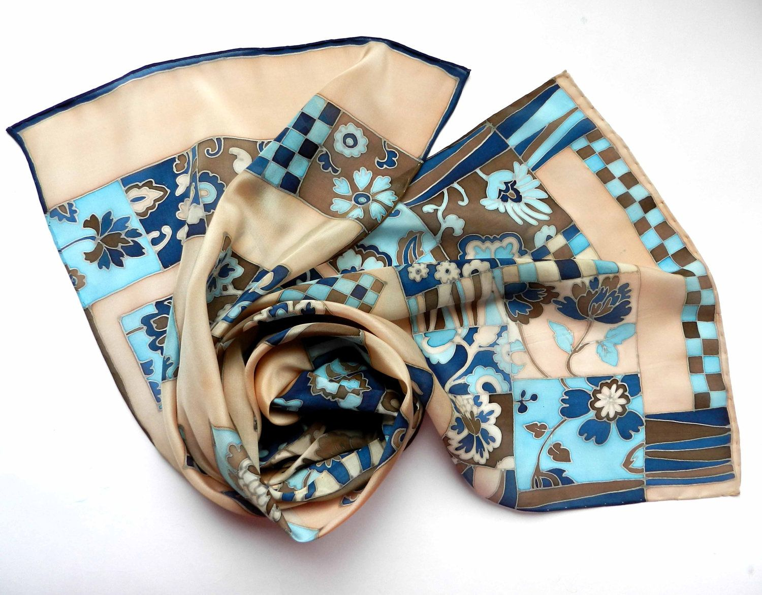 Hand painted silk scarf beige blue colors. hand painted floral silk scarf with chess ornaments.Free shipping.Made to order.. $95.00, via Etsy.