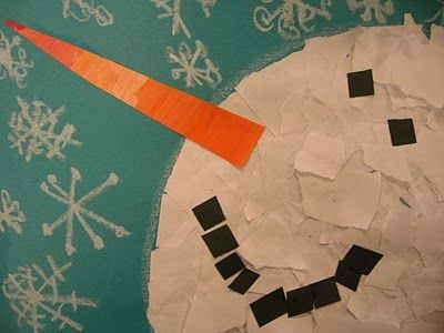 After reading books like The Snowy Day, Snowmen at Night, and Snow, students used torn and painted papers to assemble a snowman. They were able to practice following multiple directions, put together lines and shapes to make snowflakes, and use their fine motor skills to cut, tear, and glue. It was a very successful project for us!  Personal note:  I think this is better suited for my 1st graders.