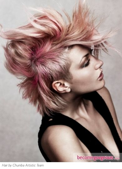 Pictures Punk Girl Hairstyles Edgy Pink Messy Hair Style Short Punk Hair Punk Hair Color Alternative Hair