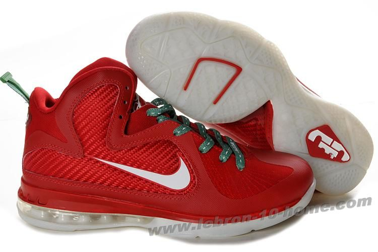 super popular f9e58 019f8 New Nike Lebron 9 NBA Shoes Christmas Candy Red White Discount