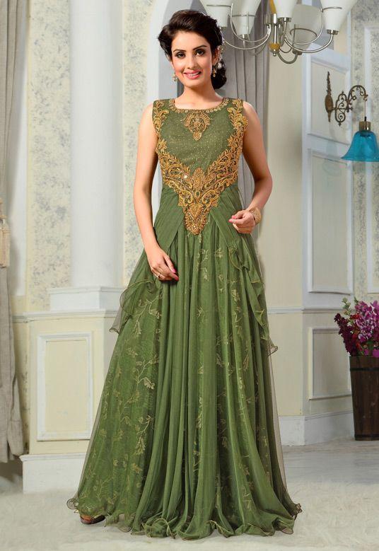 $172.65 Moss Green Net Designer Gown 56123   Fashion - Indian ...