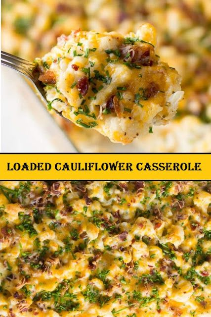 HEALTHY LOADED CAULIFLOWER CASSEROLE. Loaded Cauliflower Bake is the perfect side dish – lower in carbs and so so good! It's made with a little bit milk and grass-fed butter, garlic, and herbs and topped with bacon, cheese, and chives. So flavorful, creamy and so easy to make. #cauliflower #casserole #loadedcauliflowerbake