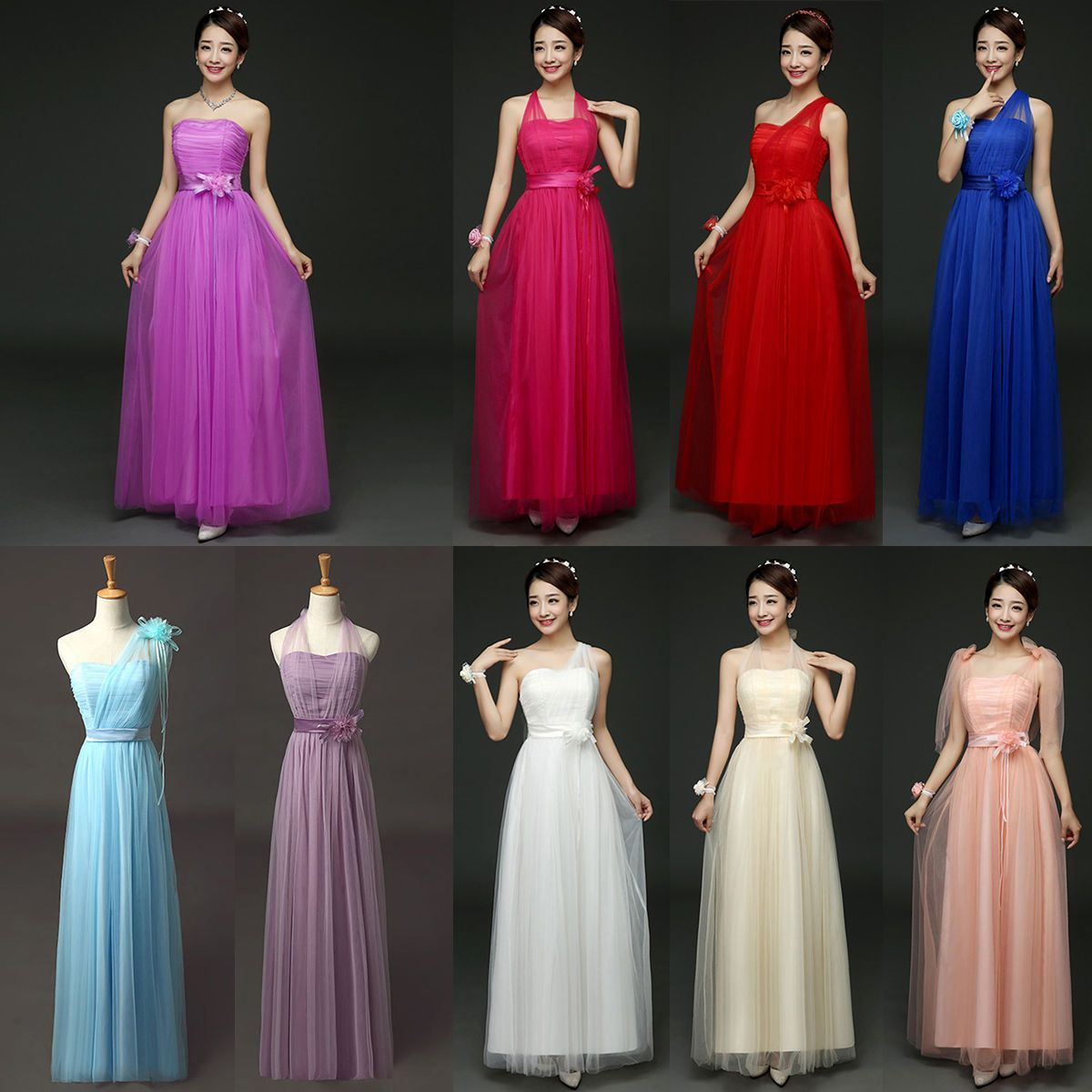 Multi wear women formal long dress wedding bridesmaid evening party