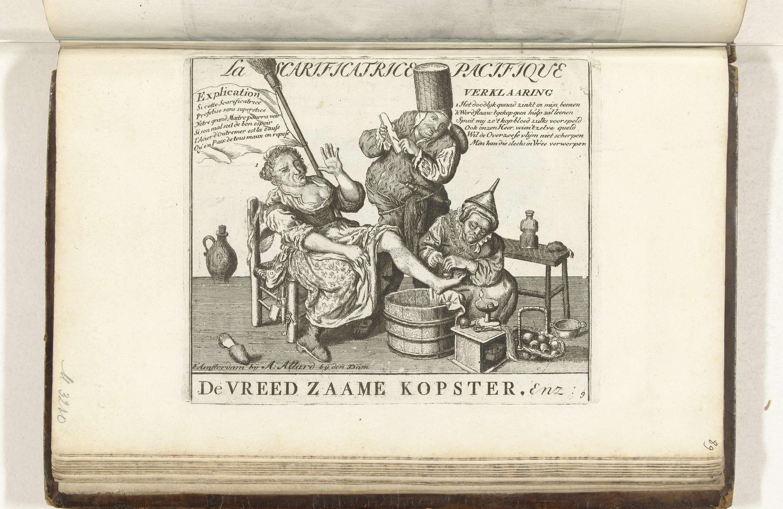 Cornelis Dusart | De vreedzame kopster, 1713, Cornelis Dusart, Abraham Allard, 1713 | Spotprent waarin een vrouw door een kopster aan haar been wordt behandeld, een chirurgijn kijkt toe. Toespeling op de rol van koningin Anna in de vredesonderhandelingen voor de Vrede van Utrecht, 1713. Genummerd rechtsonder: 9. In de plaat verzen in het Nederlands en Frans. Onderdeel van een groep van 28 nieuwe en oude platen aangepast ter illustratie van de Vrede van Utrecht in 1713. Onderdeel van het…
