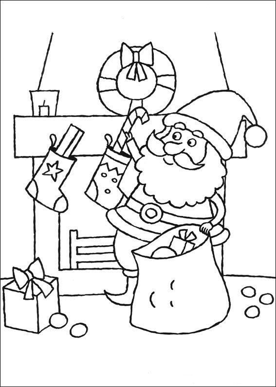 kleurplaat kerstmis meer sokken vullen met afbeeldingen