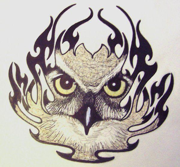 Flames Owl Tribal Owl Tattoos Tribal Tattoos Owl