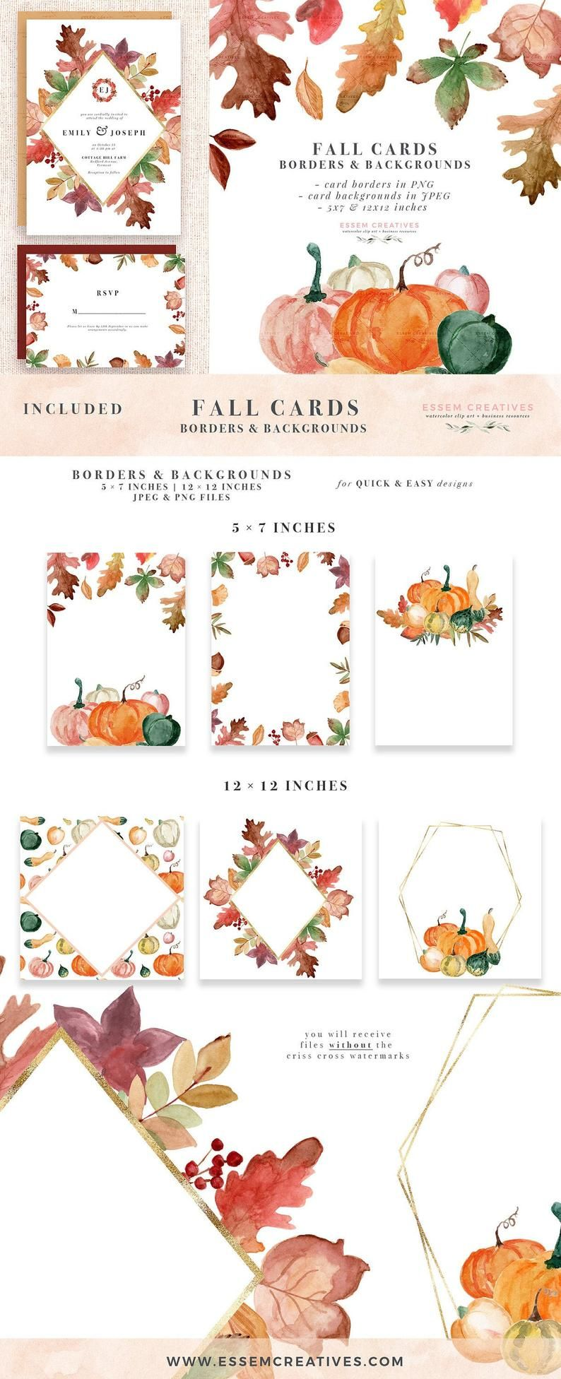 Rustic Fall Watercolor Digital Papers Autumn Leaf Pumpkins Etsy In 2020 Fall Watercolor Leaf Cards Fall Wedding Invitations