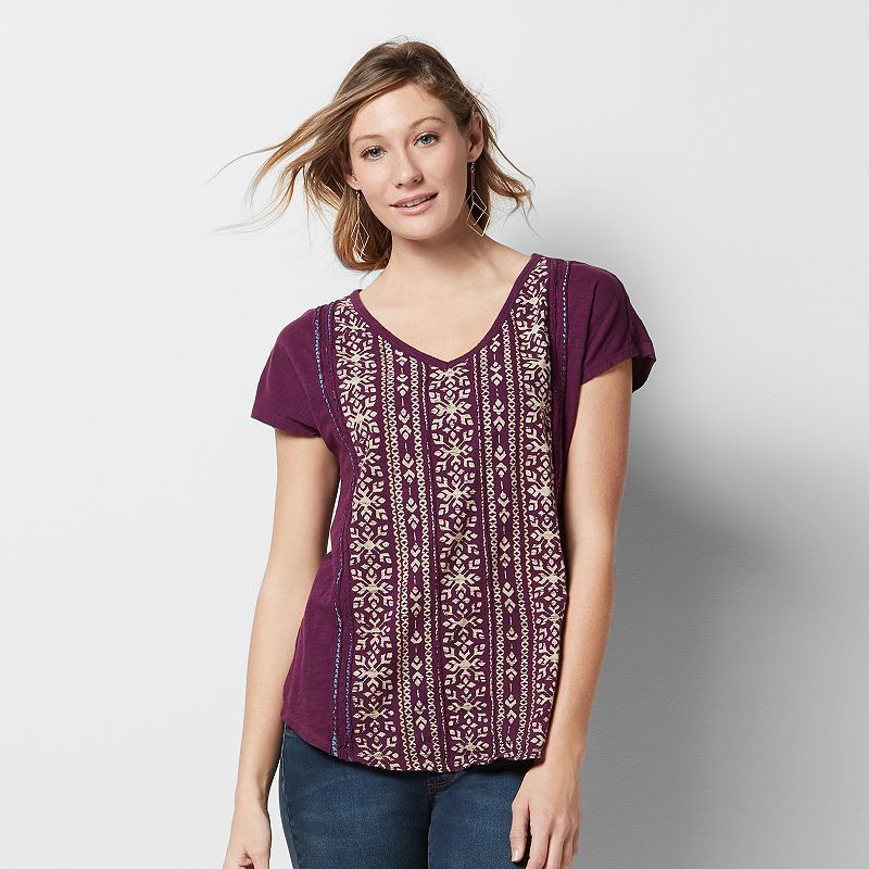 Women's SONOMA Goods for Life™ Embroidered Graphic Tee, Med Purple