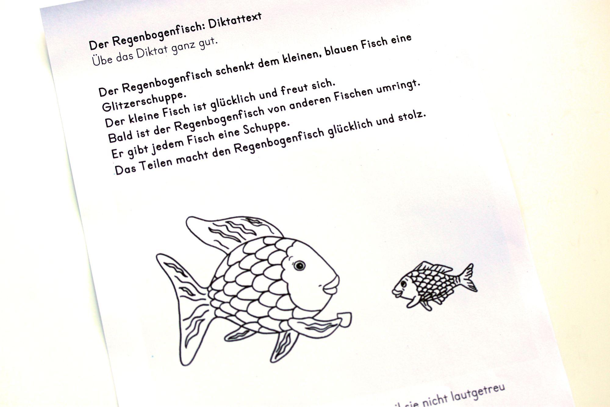 Diktattext Der Regenbogenfisch Regenbogenfisch Deutsch Lesen Fische