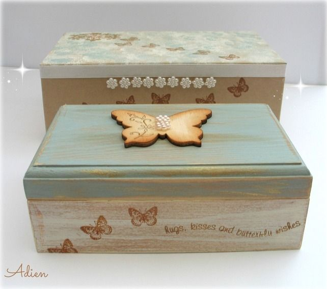 How To Make A Decorative Wooden Box: Hand Decorated Wooden Box With Gift Box Blue Butterfly
