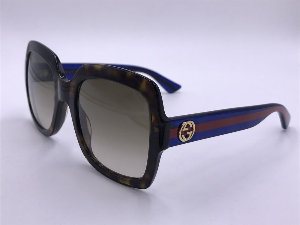 81501a1d1557 GUCCI DESIGNER GG0036S 004 TORTOISE BLUE/ RED SQUARE AUTHENTIC ITALY 54-22  140 designer fashion