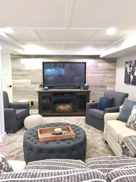 Jenny grossman saved to basementpin ka narrow counter height bar behind  sectional in rustic chic basement remodel we added interest and heat with also beautiful design ideas for room decoration rh pinterest