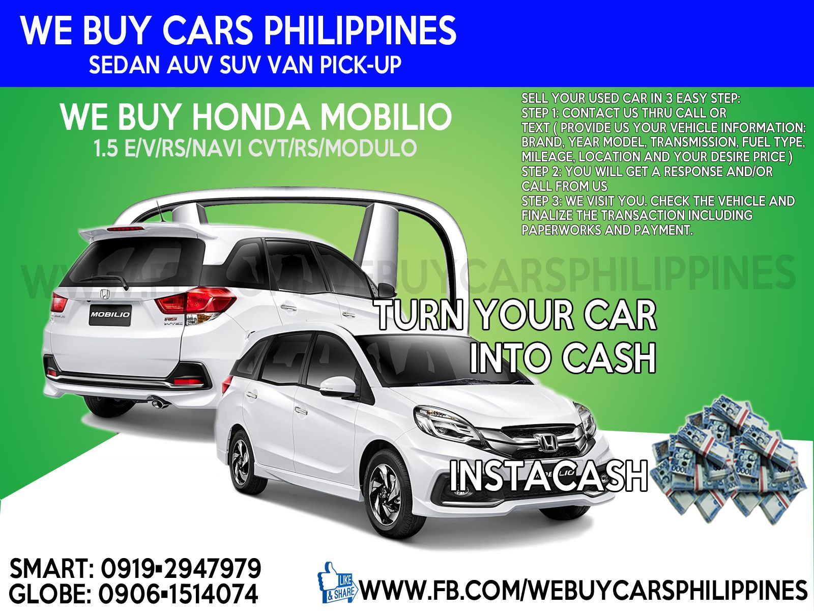 WE BUY USED HONDA MOBILIO PHILIPPINES Mobilio 1.5 E MT