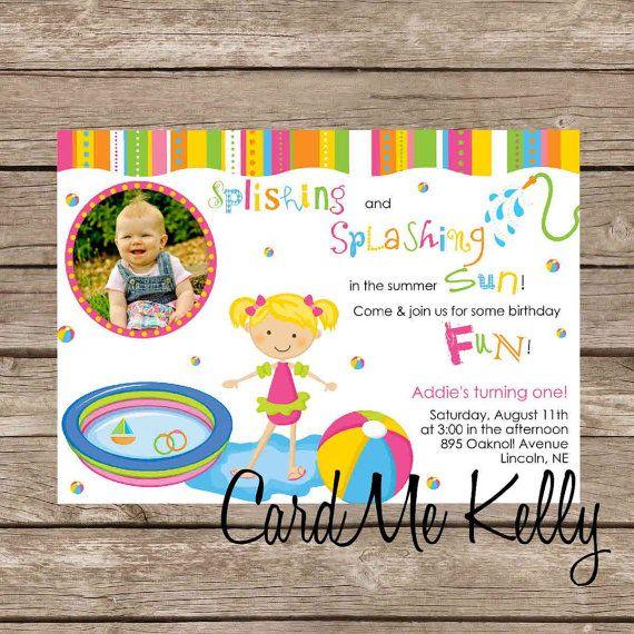 Attrayant Printable Boy Or Girl Kiddie Baby Pool Party Summer Party Birthday  Invitation  Digital File
