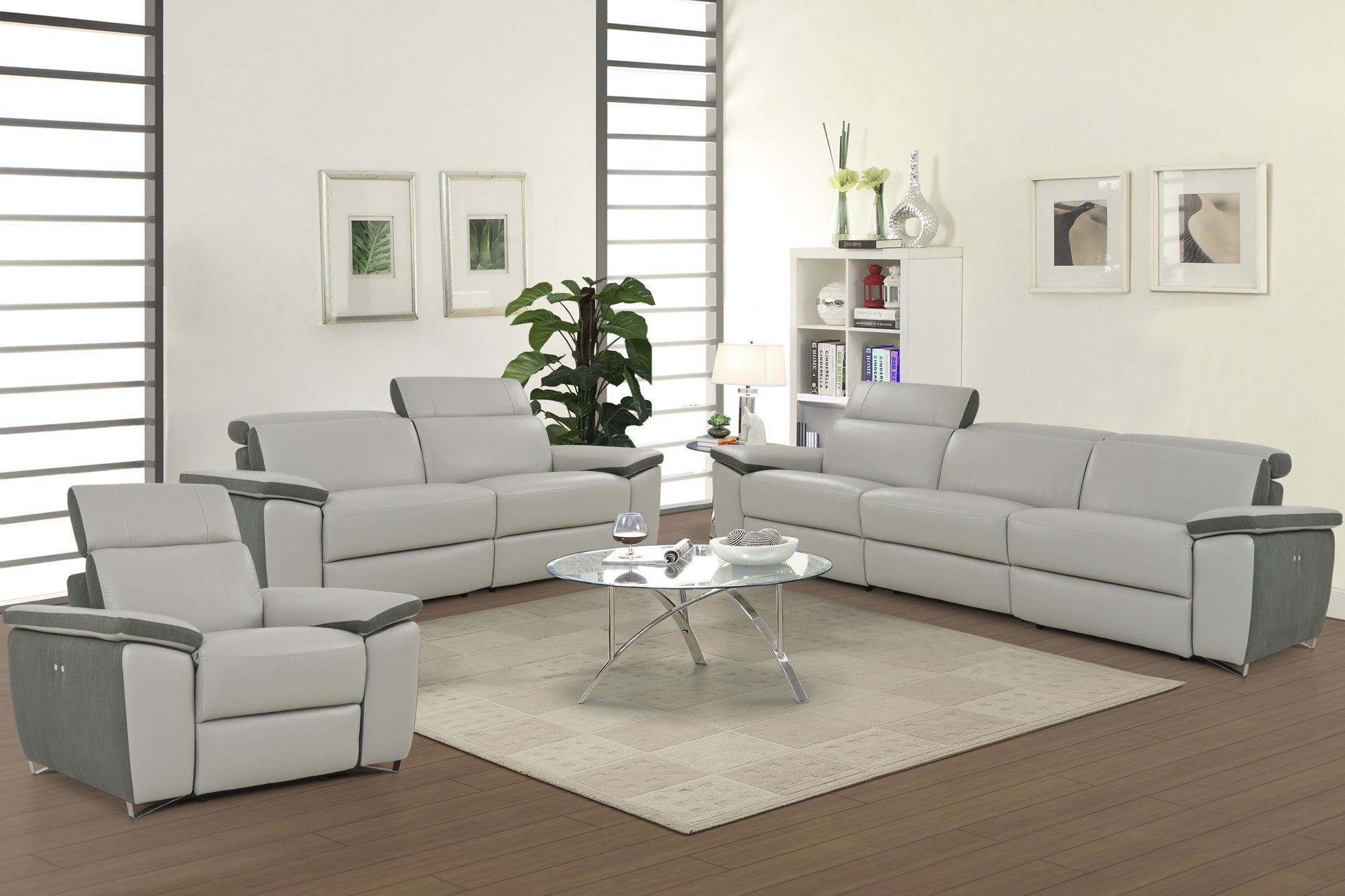 Aura top grain light grey leather power reclining sofa loveseat and chair