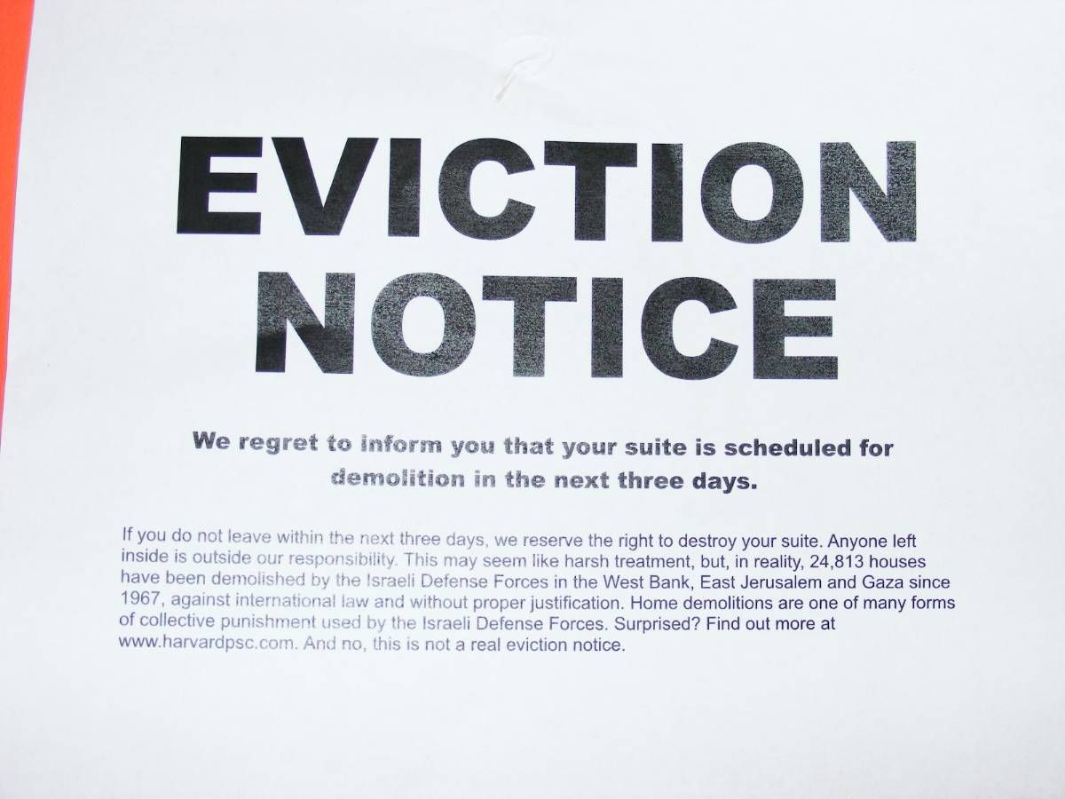 Were You Served An Eviction Notice  Harvard College Palestine