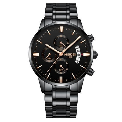 NIBOSI Relogio Masculino Men Watches Luxury – Black Gold Steel
