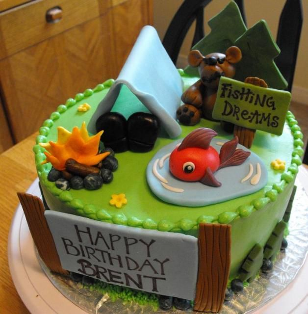 Camping and fishing theme birthday cake Cakes For Teen Boys