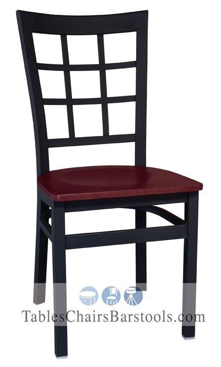 Our Commercial Window Pane Metal Chair With Mahogany Seat Offers Superior  Quality At An Exceptional Value For Your Establishment.