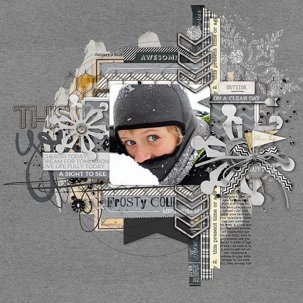 Wintery boy scrapbook layout by Kayleigh Wiles #shopDesignerDigitals