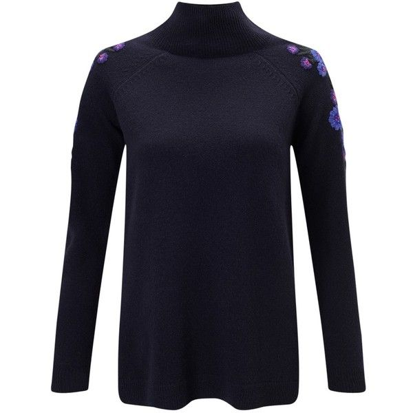 East Floral Embellished Turtle Neck Jumper, Blue (142515 IQD) ❤ liked on Polyvore featuring tops, sweaters, long sleeve turtleneck, floral sweater, turtle neck sweater, rollneck sweaters and blue turtleneck