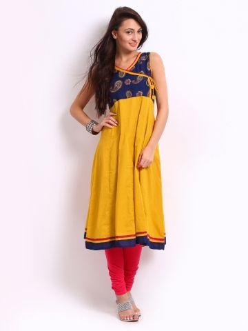 30984ec262 Mustard n Blue anarkali top @ Myntra | Indian Dresses- Anarkalis ...