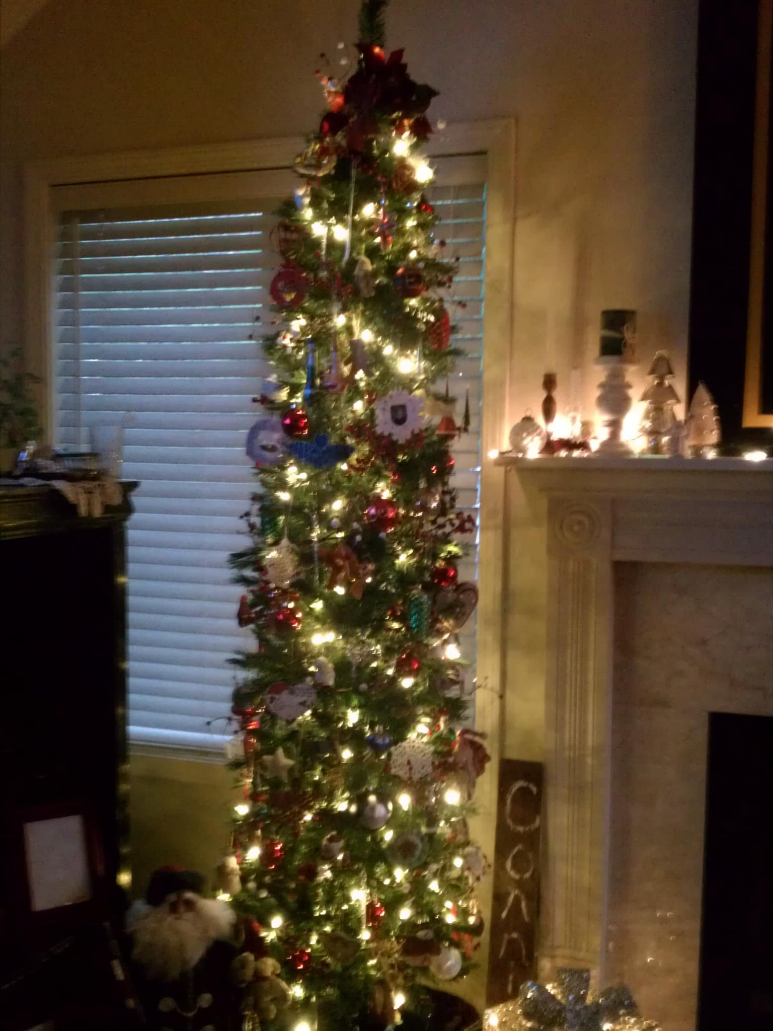 My tall skinny tree, LOVE it! Does not take up much room ...