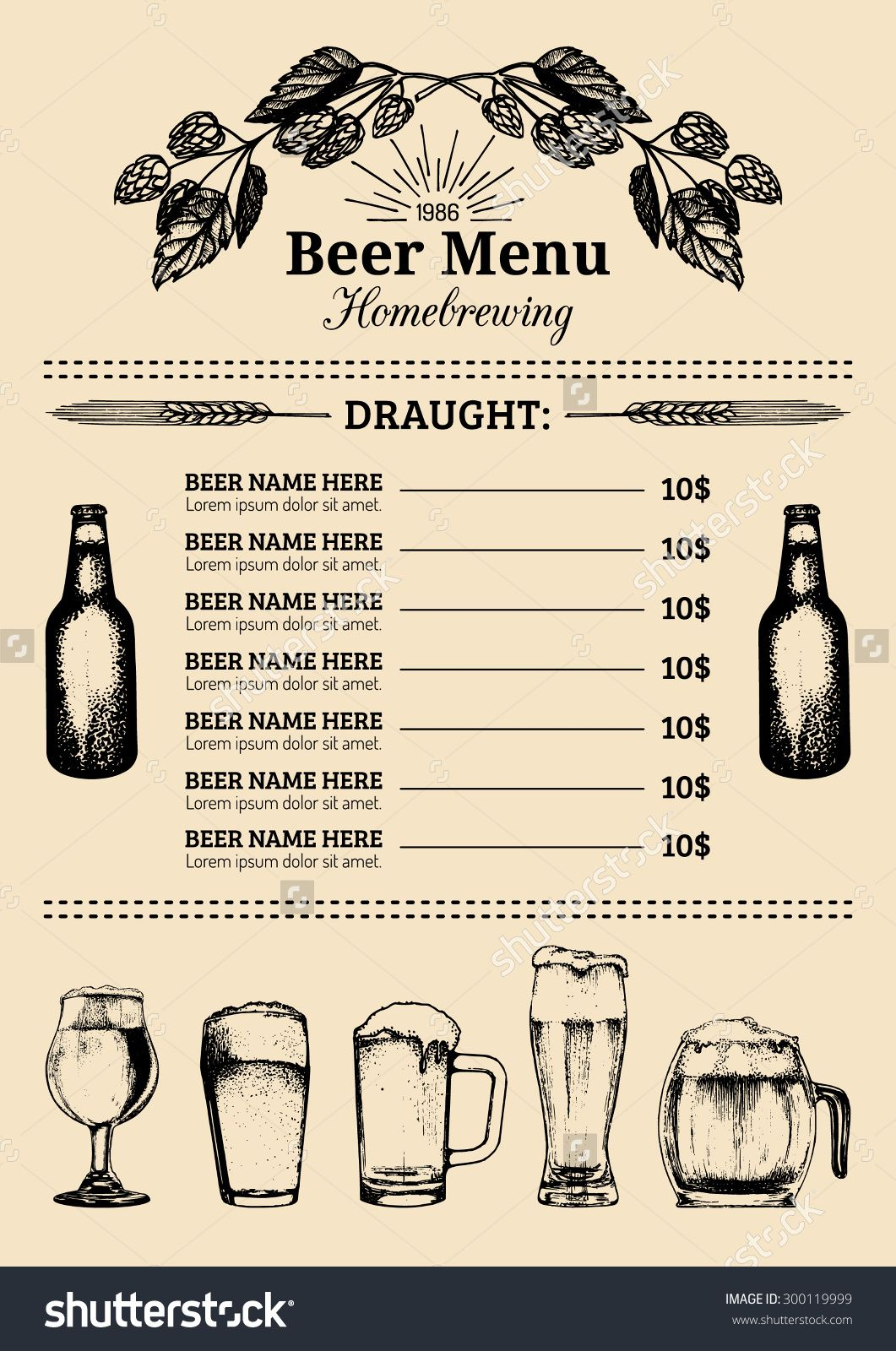 stockvectorbeermenudesigntemplatevectorbarpubor – Beer Menu