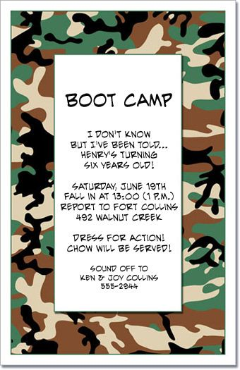 Camo Jungle Party Invitations Military Invitations For Little
