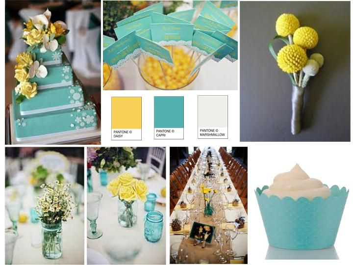 Turquoise And Yellow Wedding Ideas: Inspiration Board: Daisy Yellow, Carpi Turquoise, And