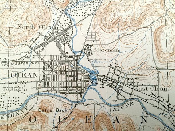 Antique Olean New York 1898 Us Geological Survey Topographic Map