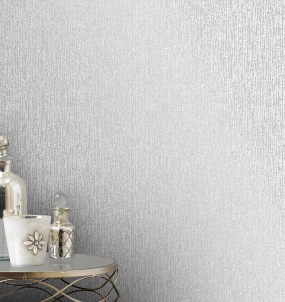 Glitter Embossed Wallpaper Texture Silver Textured