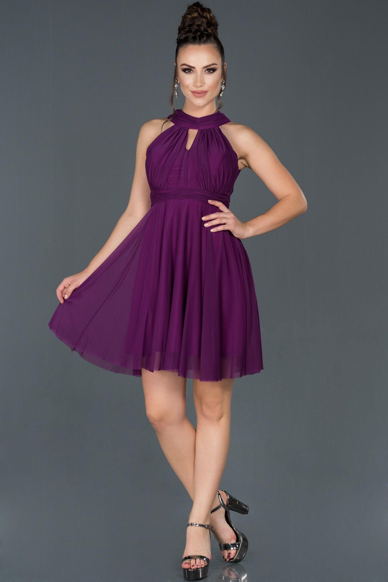 Mor Kisa Boyundan Baglamali Abiye Elbise Abk224 2020 Elbise Modelleri Elbise Moda Stilleri