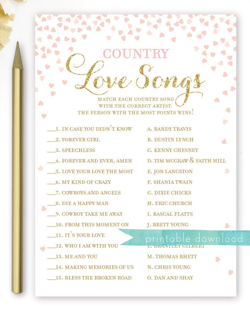 Country Love Songs Bridal Shower Game . Love Songs Game