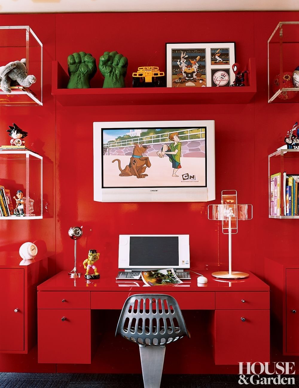 Pinterest & Glossy red walls and modern furnishings accent a child\u0027s room in New ...